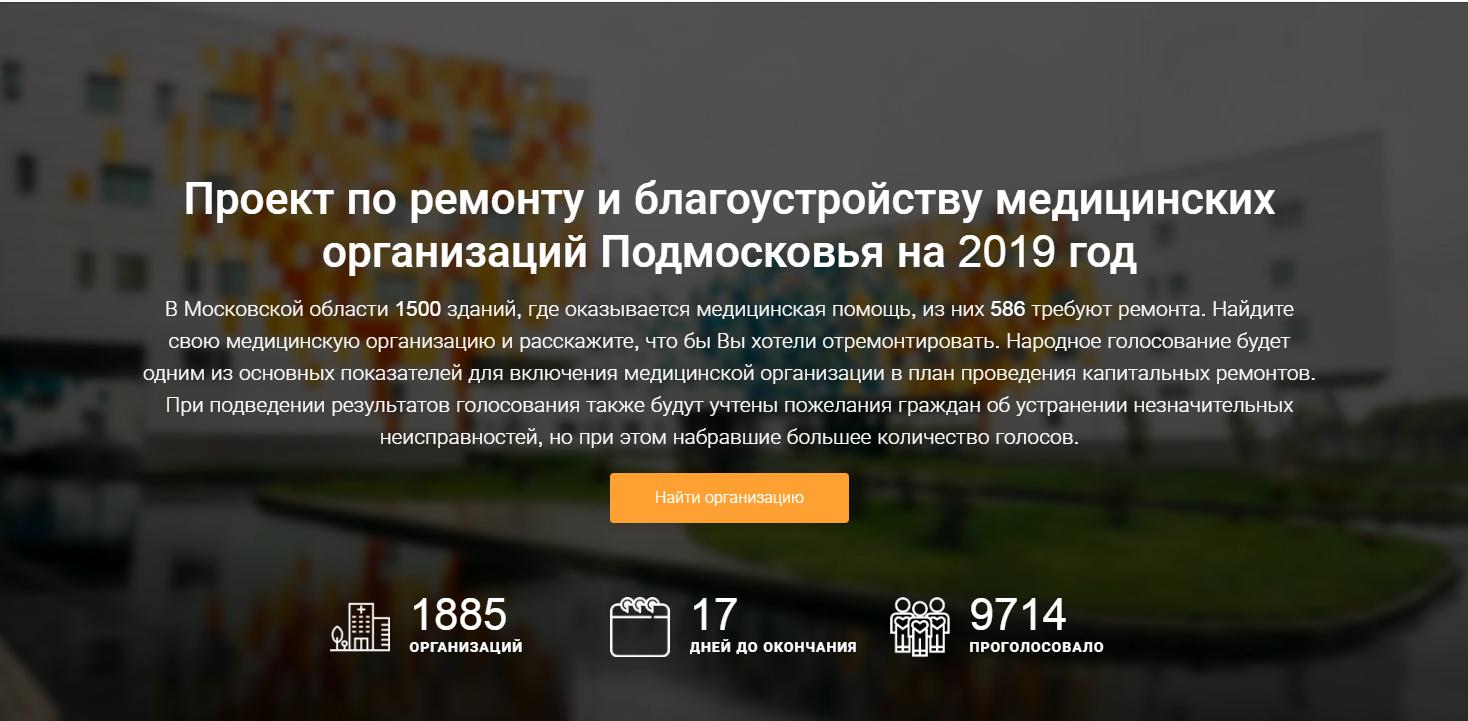 Проект по ремонту и благоустройству медицинских организаций Подмосковья на 2019 год