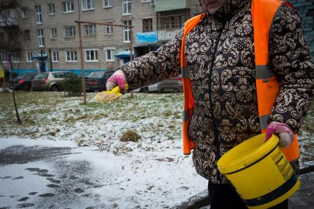 У дворников ООО «ДГХ» реагентов для обработки тротуаров в достатке
