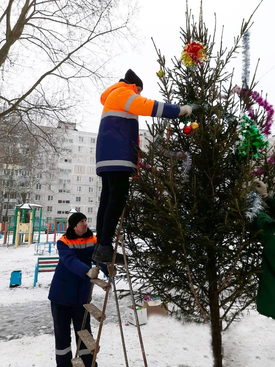 Новогодние ели установили в коломенских дворах сотрудники Департамента городского хозяйства