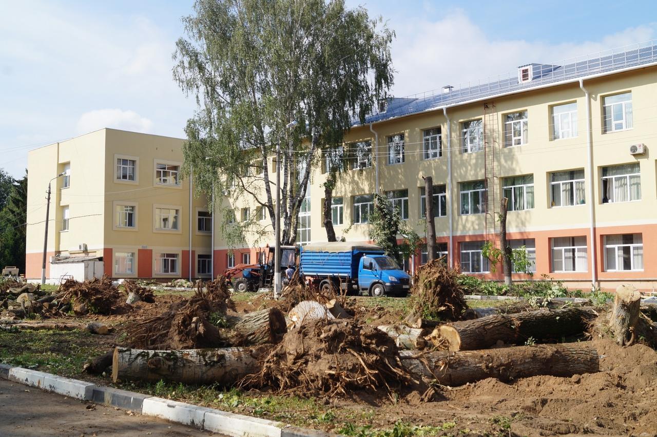 В больничном городке на ул. Октябрьской Революции происходит замена зеленых насаждений и расширяется автомобильная парковка