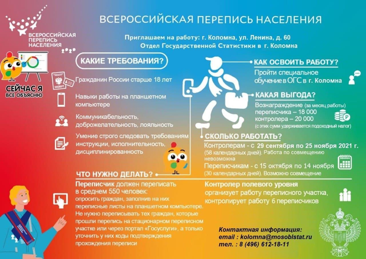 Коломенский отдел статистики приглашает на переписчиков и контролеров на работу